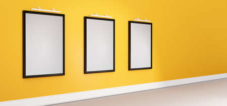 Background wall frame. Rectangular vertical frames hanging on a wall. Mockup 3D render. Stok Fotoğraf