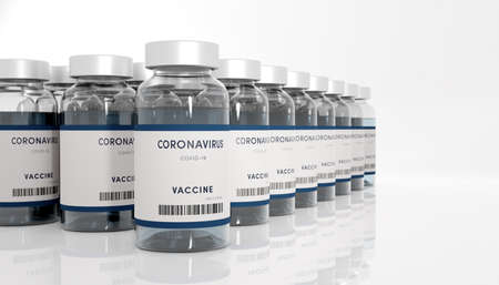 Biology and science. Covid-19. Concept of vaccination against new Coronavirus Covid-19. Rows of glass container. 3D Render.
