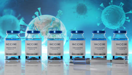 Biology and science. Covid-19. Concept of vaccination against new Coronavirus Covid-19. Rows of glass container with syringe. 3D Render. Stok Fotoğraf - 159303603
