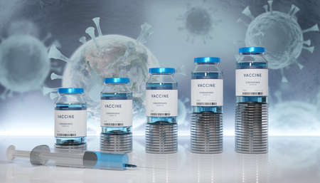 Rows of glass container stacked on money coins with syringe.