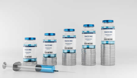 Rows of glass container stacked on money coins with syringe. Stok Fotoğraf - 159346549