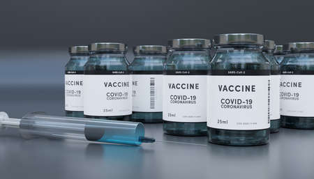 Biology and science. Covid-19. Concept of vaccination against new Coronavirus Covid-19 glass bottle or glass container with syringe. 3D Render. Stok Fotoğraf - 159549744