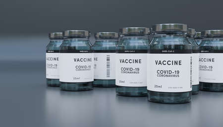 Biology and science. Covid-19. Concept of vaccination against new Coronavirus Covid-19 glass bottles or glass containers with vaccine on a laboratory bench. 3D Render. Stok Fotoğraf - 159549747