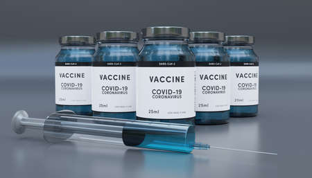 Biology and science. Covid-19. Concept of vaccination against new Coronavirus Covid-19 glass bottle or glass container with syringe. 3D Render. Stok Fotoğraf - 159579930