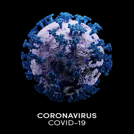 Biology and science. Covid-19. Microscopic close-up of the covid-19 virus. Coronavirus illness spreading in body cell. Global pandemic disease. 3D Render.