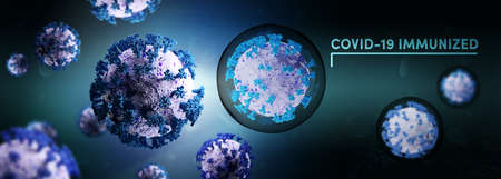 Biology and science. Covid-19. Microscopic close-up of the covid-19 virus. Coronavirus immunized or vaccinated. Global pandemic disease. 3D Render. Stok Fotoğraf - 159707166