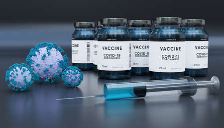 Biology and science. Covid-19. Concept of vaccination against new Coronavirus Covid-19 glass bottle or glass container with syringe. 3D Render.
