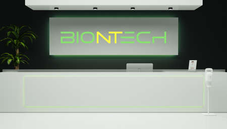 Guilherand-Granges, France - November 11, 2020. Contemporary lobby hall with Biontech logo. German biotechnology company dedicated to the development and manufacture of active immunotherapies.