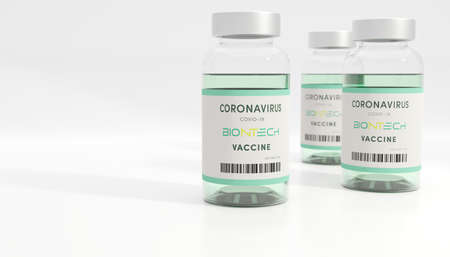 Guilherand-Granges, France - November 13, 2020. Covid-19 vaccine with Biontech logo. German biotechnology company dedicated to the development and manufacture of active immunotherapies. Editöryel