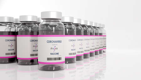 Guilherand-Granges, France - November 16, 2020. Covid-19 vaccine with AnGes logo. Biopharmaceutical company specializing in R&D and practical application of genetic medicine.