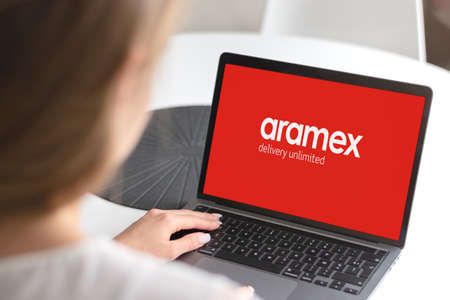 Guilherand-Granges, France - November 24, 2020. Notebook with Aramex logo. Multinational logistics, courier and package delivery company.