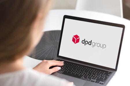Guilherand-Granges, France - November 24, 2020. Notebook with Dpd logo. International parcel delivery service for sorter compatible parcels.