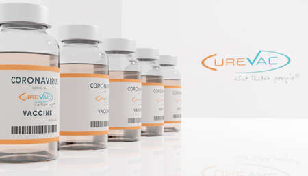 Guilherand-Granges, France - November 14, 2020. Covid-19 vaccine with Curevac logo. German biopharmaceutical company that develops therapies based on messenger RNA.