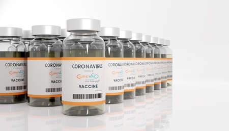 Guilherand-Granges, France - November 16, 2020. Covid-19 vaccine with Curevac logo. German biopharmaceutical company that develops therapies based on messenger RNA.