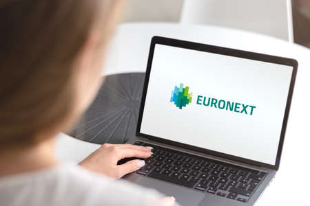 Guilherand-Granges, France - October 09, 2020. Notebook with Euronext logo. Largest stock exchange in Europe.