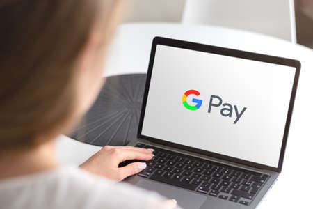 Guilherand-Granges, France - October 08, 2020. Smartphone with Google Pay logo. Digital wallet platform and online payment system. Editöryel