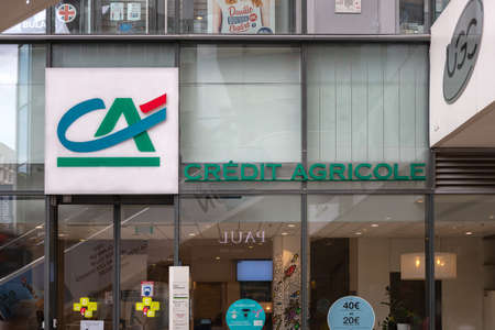 Lyon, France - August 29, 2020. Front view of Credit Agricole bank agency. Cooperative financial institution with network of local banks.
