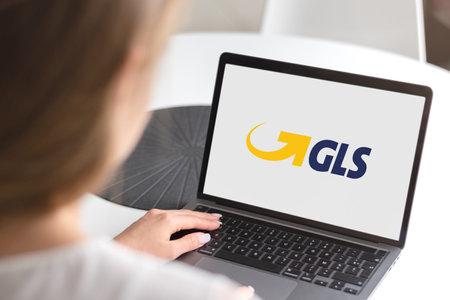 Guilherand-Granges, France - November 24, 2020. Notebook with GLS logo. British-owned logistics company.