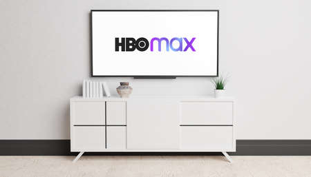 Guilherand-Granges, France - November 10, 2020. Living room and television with HBO Max logo. American subscription video on demand streaming service. Editöryel