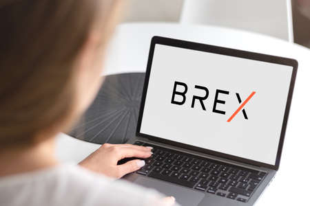 Guilherand-Granges, France - October 21, 2020. Notebook with Brex logo. American corporate designing credit cards for tech, e-commerce and life sciences companies.
