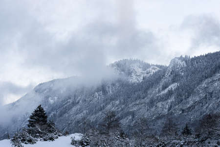 French winter landscapes. Panoramic view of mountain peaks and canyons. Vercors Regional Natural Park.