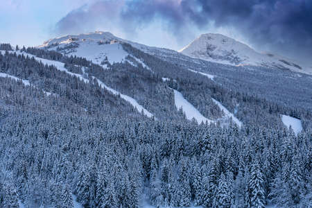 French winter landscapes. Panoramic view of mountain peaks and canyons. Vercors Regional Natural Park. View to La Grande Moucherolle. Фото со стока