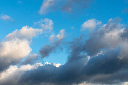 Backgrounds and textures. Blue beautiful sky with clouds.