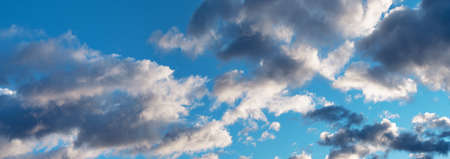 Backgrounds and textures. Panorama of blue beautiful sky with clouds.