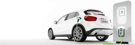 E-Mobility and ecology. Charging an electric urban car in white background. Charging battery concept. 3D rendering.