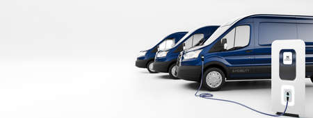 E-Mobility and ecology. Charging an electric transporter in white background. Charging battery concept. 3D rendering.