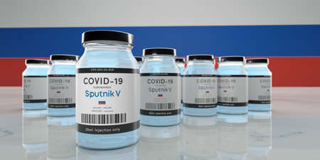 Guilherand-Granges, France - February 16, 2021. Covid-19 vaccine with Sputnik V logo.  COVID-19 vaccine developed by the Russian Gamaleya Research Institute of Epidemiology and Microbiology.