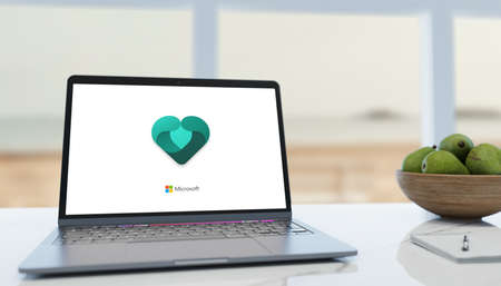 Guilherand-Granges, France - February 16, 2021. Notebook with Microsoft Family features logo. A parent can manage settings for a child.
