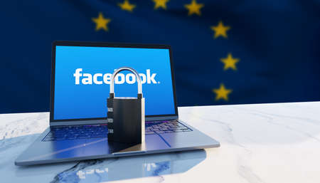 Guilherand-Granges, France - February 18, 2021. Notebook with Facebook logo, padlock and European flag in the background. American social media conglomerate corporation.