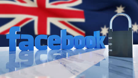 Guilherand-Granges, France - February 18, 2021. Facebook logo, padlock and Australian flag in the background. American social media conglomerate corporation.