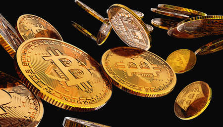Finance and markets. Bitcoins and new virtual money concept. Golden bitcoins with black background. Crypto currency. 版權商用圖片