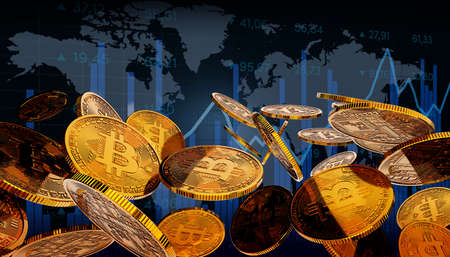 Finance and markets. Bitcoins and new virtual money concept. Golden bitcoins with market chart background. Crypto currency.