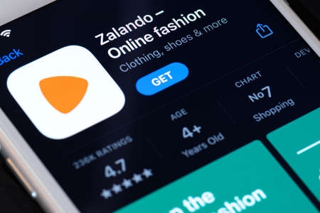 Guilherand-Granges, France - February 08, 2021. Smartphone with Zalando app logo.  German multi national e-commerce company. It follows a platform approach, offering fashion and lifestyle products.