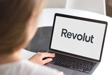 Guilherand-Granges, France - April 15, 2021. Notebook with Revolut logo. English financial technology company headquartered in London, that offers banking services.