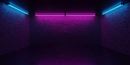Neon light background. Dark neon light background with bricks. Dark cyber Sci Fi concept. Stock Photo