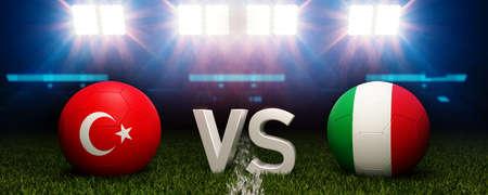 Stadium in background. 3d rendering. Turkey vs Italy. Stock Photo
