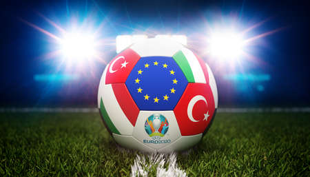 Guilherand-Granges, France - June 08, 2021. Football with national flags of Turkey and Italy. Stadium in background. 3d rendering. 2020 Euro football tournament. Editoriali