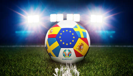 Guilherand-Granges, France - June 10, 2021. Football with national flags of Spain and Sweden. Stadium in background. 3d rendering. 2020 Euro football tournament. Editoriali