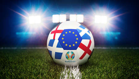 Guilherand-Granges, France - June 11, 2021. Football with national flags of England and Scotland. Stadium in background. 3d rendering. 2020 Euro football tournament.