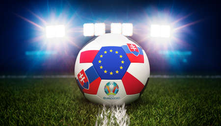 Guilherand-Granges, France - June 11, 2021. Football with national flags of Poland and Slovakia. Stadium in background. 3d rendering. 2020 Euro football tournament.