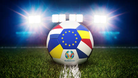 Guilherand-Granges, France - June 11, 2021. Football with national flags of Netherlands and Ukraine. Stadium in background. 3d rendering. 2020 Euro football tournament.