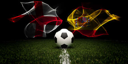Football tournament. Football with national flags of England and Spain.