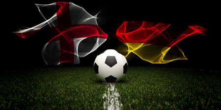 Football tournament. Football with national flags of England and Germany. 版權商用圖片