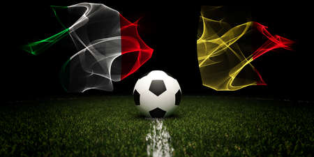Football tournament. Football with national flags of Italy and Belgium. 版權商用圖片