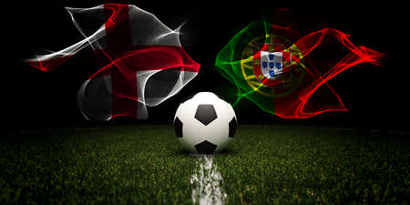 Football tournament. Football with national flags of England and Portugal.