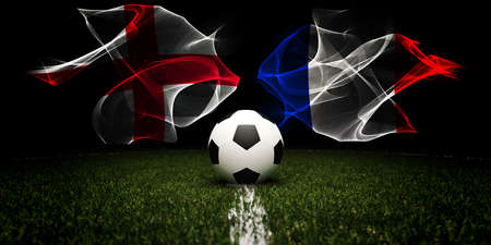 Football tournament. Football with national flags of England and France.